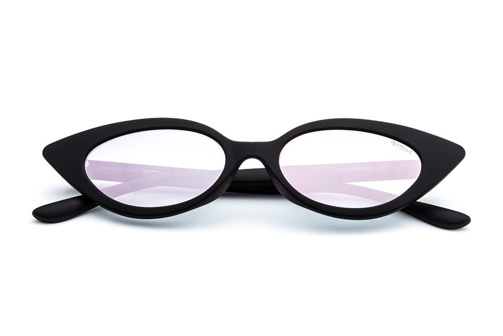 Black - Shaded Mirrored Pink Lens
