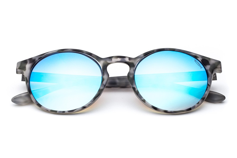 Grey Tortoise Shell - Blue Flashed Lens
